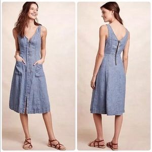 Anthropologie Holding Hands Atoll Chambray Dress